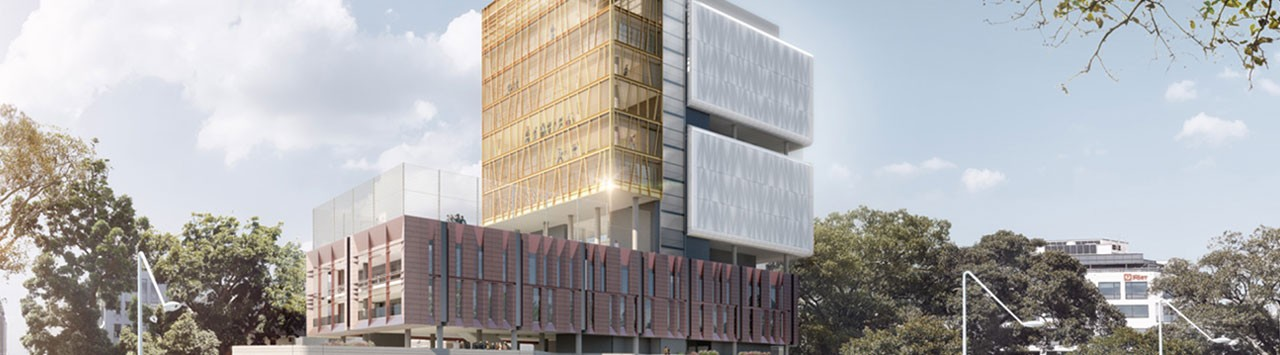 Artist impression of the new Inner Sydney High School - view from Prince Alfred Park